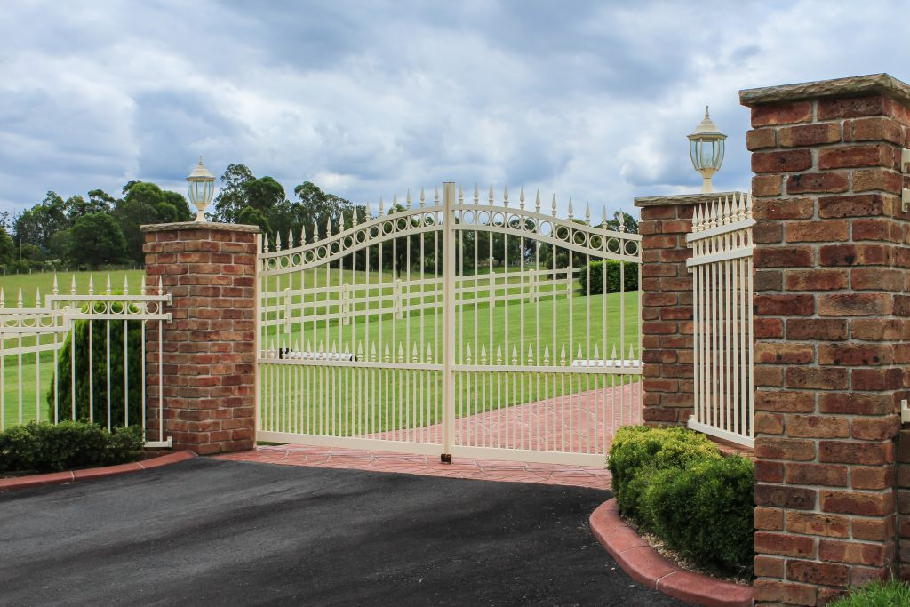 residential iron fence and gate